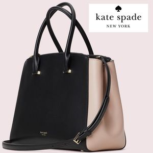 Kate Spade Large Double ZIP Shirley Pink Black Bag